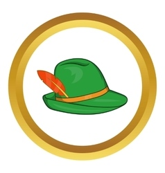 Green hat with a feather icon vector