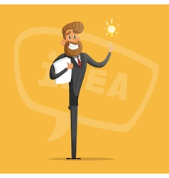 Happy businessman or manager comes up with ideas vector