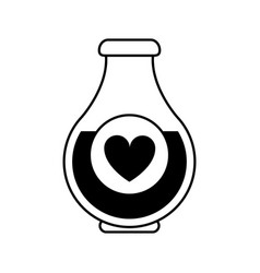 Heart labeled flask or potion love valentines day vector