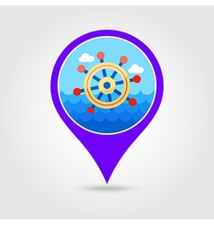 Helm pin map icon summer marine vector