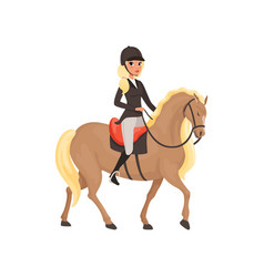 jockey girl riding horse equestrian professional vector image