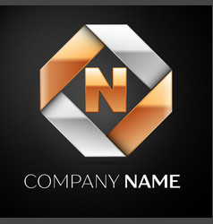 Letter n logo symbol in the colorful rhombus on vector