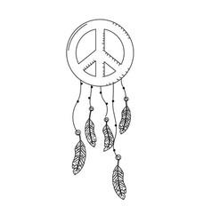 Line hippie emblem symbol with feathers design vector