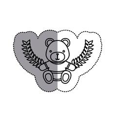 Monochrome contour sticker circle with teddy bear vector