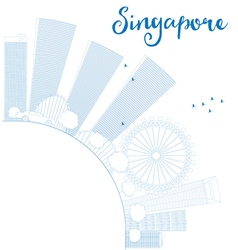 Outline singapore skyline with blue landmarks vector