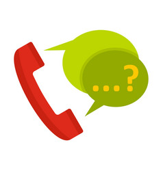 Phone with question mark speech bubble icon vector