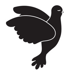 pigeon peace flying in side view on monochrome vector image vector image