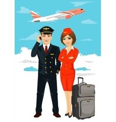 Professional aviation crew members vector