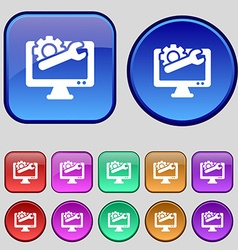 Repair computer icon sign a set of twelve vintage vector