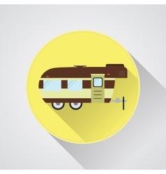 Rv camping icon logo and badge caravan button in vector