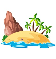 Scene with island in the sea vector