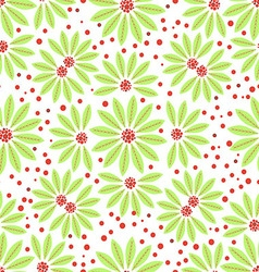 Seamless flowers green and red berries on white vector image vector image