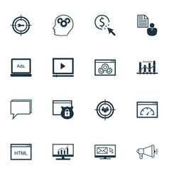 Seo icons set collection of intellectual process vector