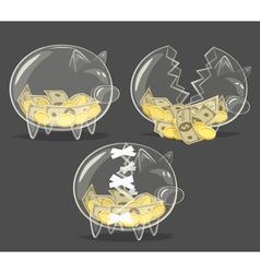 Set of glass piggy banks vector image vector image