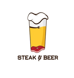 steak and glass of beer design template vector image vector image