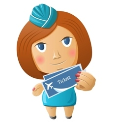 Stewardess with plane tickets vector