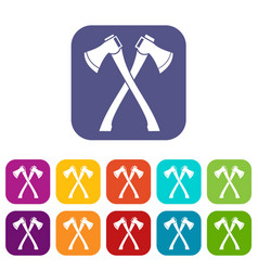 Two crossed axes icons set vector