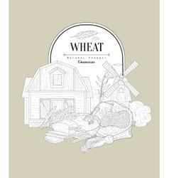 Wheat vintage sketch vector