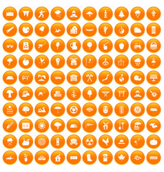 100 tree icons set orange vector