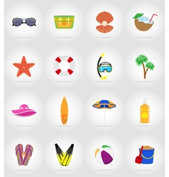 Objects for recreation a beach flat icons 17 vector
