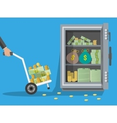 Hand truck full of money and coins steel safe vector