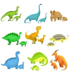 Different dinosaurs in pairs of big and small vector