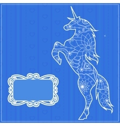 Blue backdrop with unicorn vector