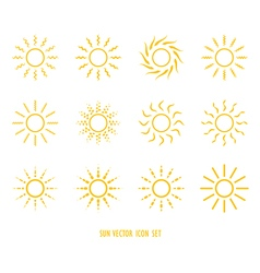 Sun symbol icon set vector