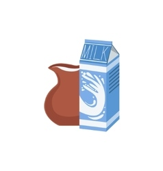Carton and jug of milk bright color isolated vector