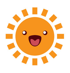 Sun funny character icon on white vector