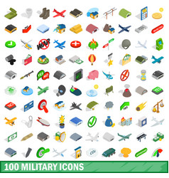 100 military icons set isometric 3d style vector