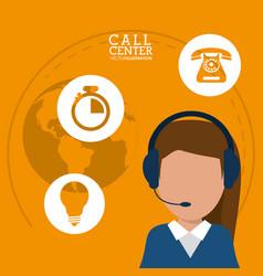 Character call center headset support worldwide vector