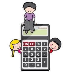 Children with a calculator vector