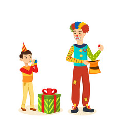 Clown animator shows tricks and scenes amusing vector