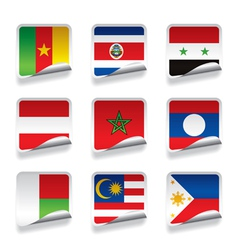 Sticker flags vector