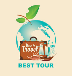 banner on a tourist theme with planet earth vector image