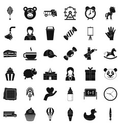Childish center icons set simple style vector