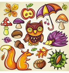 autumnal set vector image