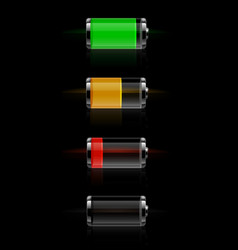 Glossy transparent battery level indicator vector