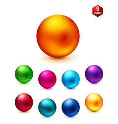 Shiny colored spheres on white background vector