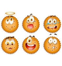 Cookies with facial expressions vector