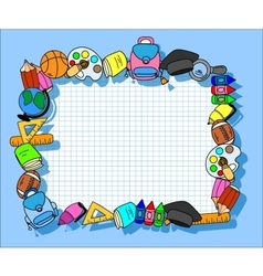 Frame of school stuff vector