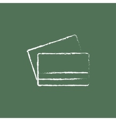Credit card icon drawn in chalk vector