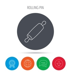 Rolling pin icon kitchen baker roller sign vector