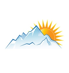 Mountains sunset logo vector image