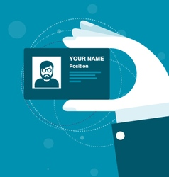 Stylized business card in hand vector
