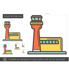 Airport terminal line icon vector