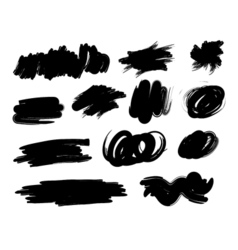 Black hand-drawn paintbrush collection vector image vector image