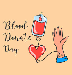 Blood donate day hand draw collection vector