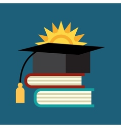 Books with the graduate cap vector image vector image